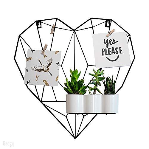 Gadgy Rejilla Decorativa en Forma de Corazón | Marco Fotos Pared de Metal con Accesorios | Marcos de Fotos para Pared | Decoración Hogar Estilo Nórdico