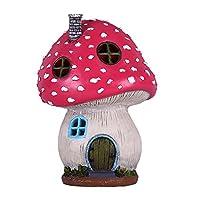 DESIGN UNICO - La graziosa casa delle fate è un fungo simile a un camino, una porta e finestre. La casa è vuota e permette di illuminarla con una luce. La combinazione di forma a fungo e luce solare rende l'effetto decorativo migliore. METALLI SUPERI...