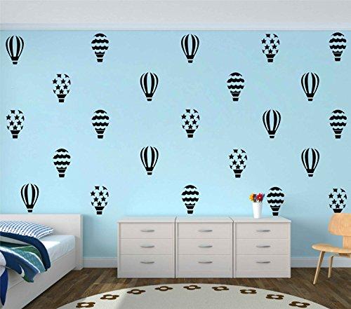 Melissalove 18pcs/set hot air balloon wall stickers for kids room girls bedroom baby nursery wall art decals wall decor sticker A690 (black)