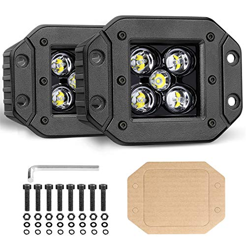 OFFROADTOWN Flush Mount LED Pods, 2pcs 5'' 100W LED Driving Lights LED Work Light Spot Beam Flush Mount LED Lights Super Bright Off Road Lights for Truck SUV Boat 4x4 Grill Mount