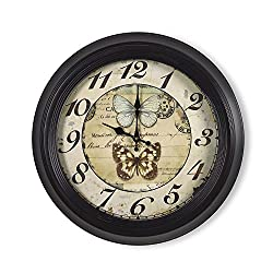 Adeco 18~19 Large Black and Brown Antique-Look Dial Butterfly Decorative Retro Vintage Traditional Wall Hanging Circle Iron Clock, Arab Numerals Numbers, Silent Battery Quartz, Home Office Decor