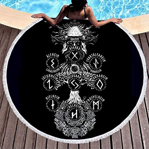 Toalla de playa redonda con símbolo celta de un solo color, con borlas, cuervo vikingo, dragón, martillo escandinavo, runas yggdrasil nórdico, mitología con flecos, 150 cm, color blanco
