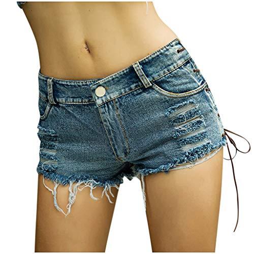 NPRADLA Denim Frauen Mädchen Sommer Quaste Party Nacht Club Ausgefranste Seil String Shorts Hotpants Damen Shorts Kurz Jeans Mini Low Waist Hose Kurzschlüsse