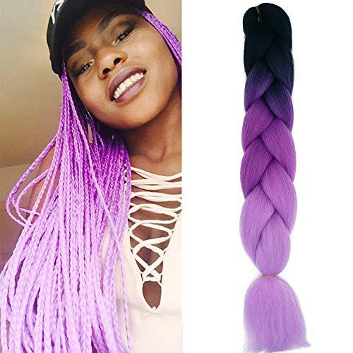 60cm Pelo Sintetico para Trenzas Africanas Extensiones de Cabello Jumbo Braids Crochet Braiding Hair Extensions 1PCS (Nero&Viola&Viola Chiaro)
