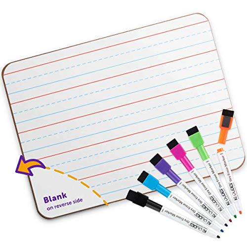 Quality Ruled Dry Erase Lapboard. Great Whiteboard for Kids Learning Writing. with 6 Magnetic Markers. 9-Inch X 12- Inch