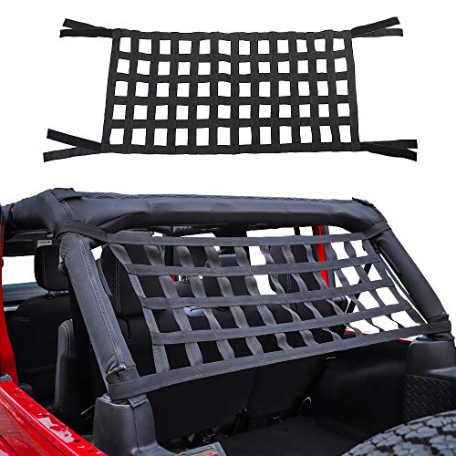 Savadicar Mesh Cargo Net Roof Top Netting Hammock for 1987-2020 Jeep Wrangler YJ TJ JK JL & Gladiator JT, Black