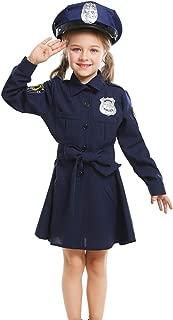 A&J DESIGN Kids Girls' Police Officer Costume Dress with Hat