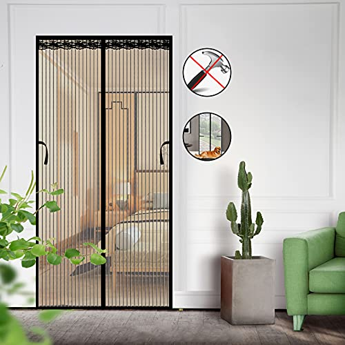 Magnetic Screen Door 39×83 inch, Durable Mesh Curtain Door Net Screen with Magnets and Full Frame Hook&Loop, Self-Closing, Hands Free, Kids/Pets Entry Freely, Black