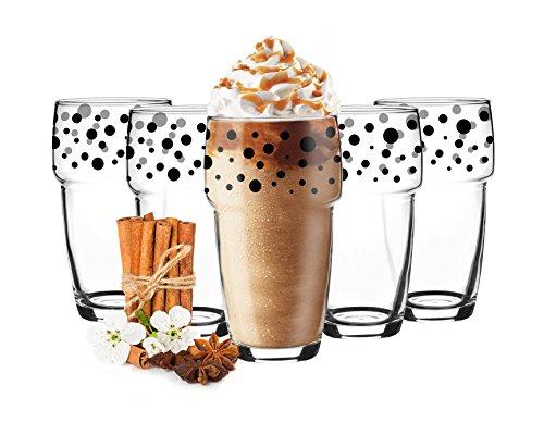 6vasos apilable 300ml café vasos vasos de zumo vasos Negro Lunares