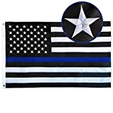 SolarStar Thin Blue Line USA Flag 4x6 FT with Embroidered Stars, Sewn Stripes, Brass Grommets, Black White and Blue American Police Flag Honoring Law Enforcement Officers
