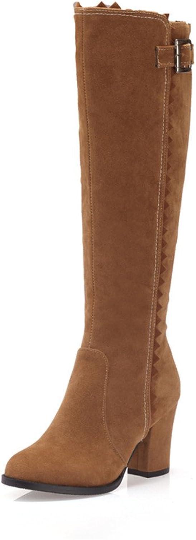 Fashion Heel Womens Chunky Heel Round Toe Knee High Boot FlAH4KvYVw Black