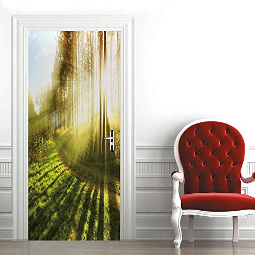 Mural para Puerta Bosques Soleados 3D Papel Pintado Puerta Autoadhesivo Vinilos Pegatinas De Pared Diy Decoraciones para Puerta Sala De Baño Estar Dormitorio 90X200Cm