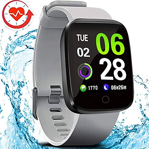 FITVII E-Pro Smart Watch Waterproof Fitness Health Tracker with Heart Rate&Blood Pressure Monitor with SpO2 and Sleep Tracker, Stopwatch Step Counter Color Screen Activity Smartwatch for Women Men