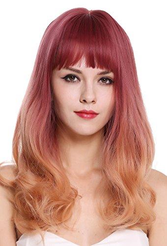 WIG ME UP - MS1733-1344R716 Perruque dame frange longue lisse pointes bouclées balayage mélange violet orange blond