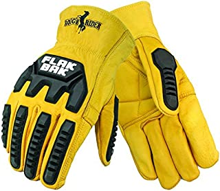 Galeton 12536-L Rough Rider Flakbakimpact Protection Premium Leather Driver Gloves, Large, Gold