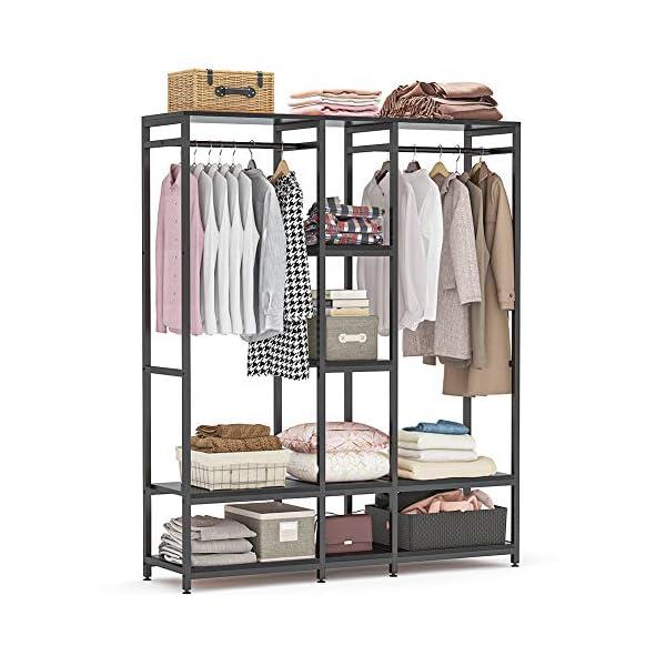 Tribesigns Double Rod Free Standing Closet Organizer, Heavy Duty Clothe Closet Storage...