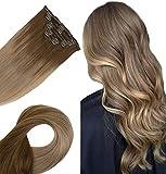 Easyouth Clip in Extensions de Cheveux Humains 16 pouces 80g 7Pcs par Paquet Couleur 10/16 Golden Brown Mix Golden Blonde Full Head Clip in Hair Extensions