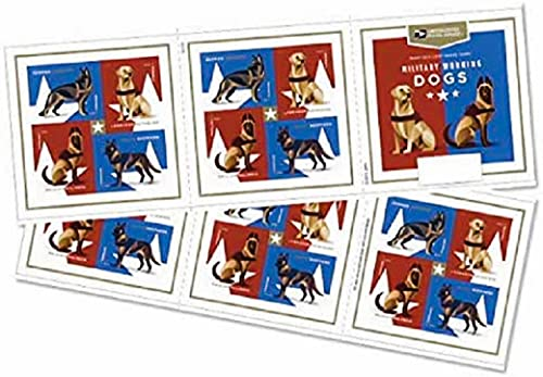 Briefmarken für Militär, Arbeitshunde, insgesamt 40 Briefmarken, Motiv: Deutscher Schäferhund, Holländischer Schäferhund, Labrador Retriever und Belgischer Malinois, 2 Bögen
