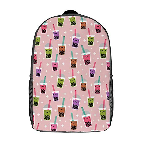 Laptop Backpacks for Unisex Students 17 Inch Business Backpack Boba Bubble Tea Pattern Portable Daypack with Adjustable Padded Shoulder Straps for Cycling