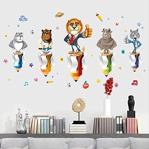 Muurstickers goed gedaan lof moed voor klas kinderen slaapkamer Cartoon dieren milieuvriendelijk huis stickers kunst muurschildering