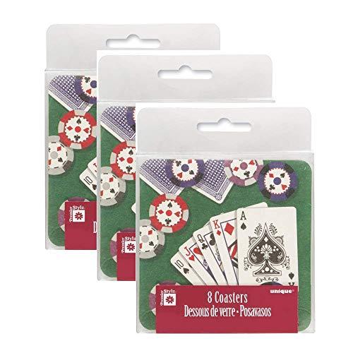 Pappuntersetzer, Poker-Hand, Poker-Tisch, 3 Stück