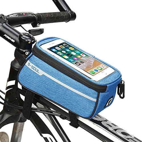 Bicicleta Bolso Teléfono,la pantalla al aire libre de la montaña/camino de la bicicleta táctil frontal Parte superior del tubo de la bolsa de una silla impermeable Ciclo bolsa de almacenamiento,Azul