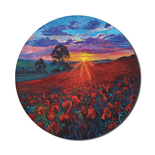 Ambesonne Country Mouse Pad for Computers, Scenery of Poppy Flower Garden on Valley with Horizon Fairy Clouds at Sunset Paint, Round Non-Slip Thick Rubber Modern Gaming Mousepad, 8' x 8', Multicolor