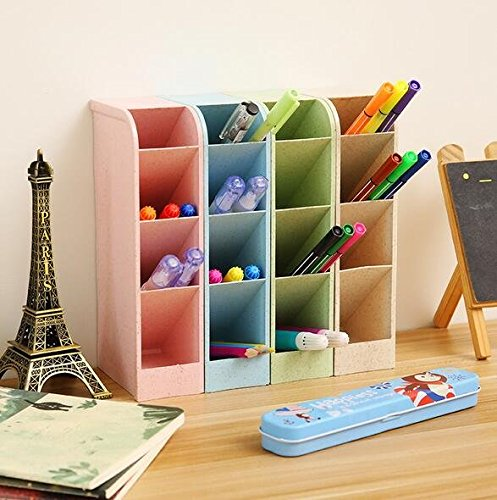 Chris.W Wheat Straw Desk Pencil Organizer - Caddies for Office/Teacher/School Supplies/Markers/Gel Pens/Paint Brushes Storage Holder Racks - 4 Colors 16 Compartment