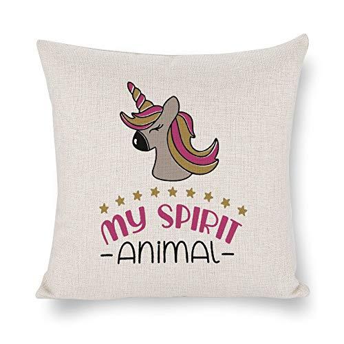 None Brand My Spirit Animal Funda de cojín con diseño de unicornio, lino rústico decorativo, funda de almohada lumbar decorativa para silla, habitación, sofá, coche, decoración del hogar, regalo de inauguración de la casa, 45,7 x 45,7 cm