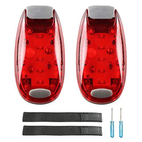 Keweni LED Sicherheitslicht 2er Set, Wasserdichtes Blinklicht für Zum Laufen, Gehen, Joggen, Haustiere, mit Armband - Nicht Wiederaufladbar (rot)