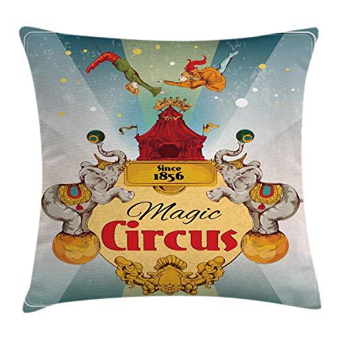 ABAKUHAUS Vistoso Funda para Almohada, Carpa de Circo Vintage, Material Lavable con Cremallera Colores No Destiñen, 45 x 45 cm, Multicolor