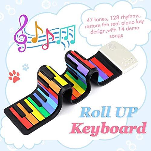 49key Hand Roll Piano Teclado De Entrada Para Niños Piano De Silicona Versión Arcoiris Del Teclado Para Niños Hand Roll Piano - Plegable Con 47 Tonos 14 Canciones De Demostración Grabación Reproducir