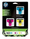 HP 363 pack de 3 cartouches d'encre cyan/magenta/jaune authentiques pour HP Photosmart...