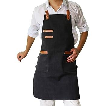 YUENA CARE Delantal Trabajo para Mujer y Hombre #1 con Bolsillos Delantal de Cocina Ajustable Mandil de Lona Duradero para Cocinero Camarero Servidores Baristas