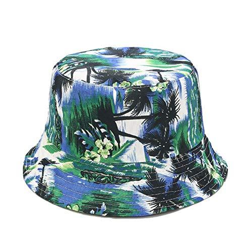 SombreroDePescador,Moda Unisex Personalidad Coco Palma Impresión Planta Sombrero De Pescador De Doble Cara Se Puede Usar Al Aire Libre Sombrilla Vacaciones De Ocio Cuatro Estaciones Elegante Az