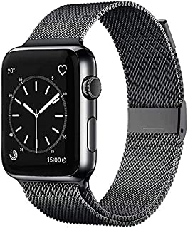 INSKO Compatible with Apple Watch Band 38mm 40mm 42mm 44mm, Stainless Steel Mesh Loop Adjustable Metal Magnetic Strap for ...