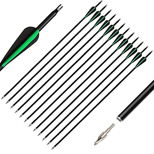 The7boX 30 Pulgadas Flechas Carbono 12 Piezas, Flechas de Caza Espina 600 con Punta Ancha reemplazable para Arco recurvo Arco Compuesto Juego de Deportes de práctica al Aire Libre