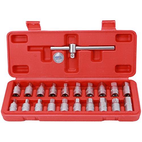 CCLIFE 21tlg Öldienstschlüssel Vierkant Ölwannenschlüssel Set Öldienst Schlüssel für Ölablassschraube mit 3/8