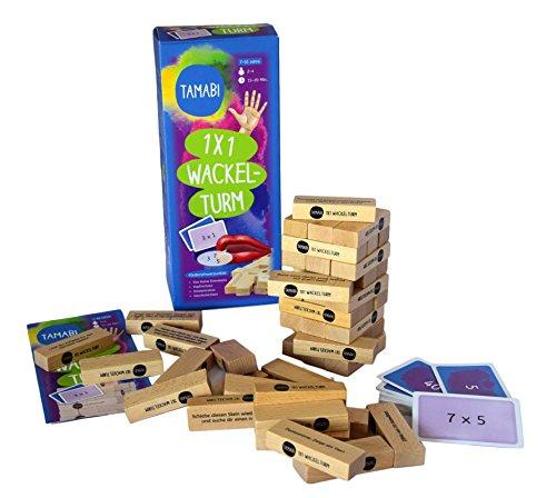 Tamabi 1x1 Lernen: Mathematik Spiele & Rechenspiele - Einmaleins Spiel 1x1 Wackelturm aus Holz, 1x1 spielerisch Lernen mit Lernspiele ab 6 Jahre für mehr Lernspaß