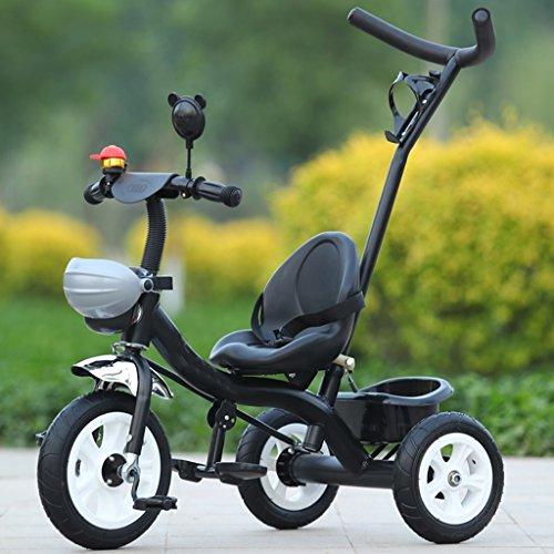 Driewieler, afneembaar, voor kinderen, verstelbaar, Boy Girl Trike Bike voor 1-5 jaar. Zwart