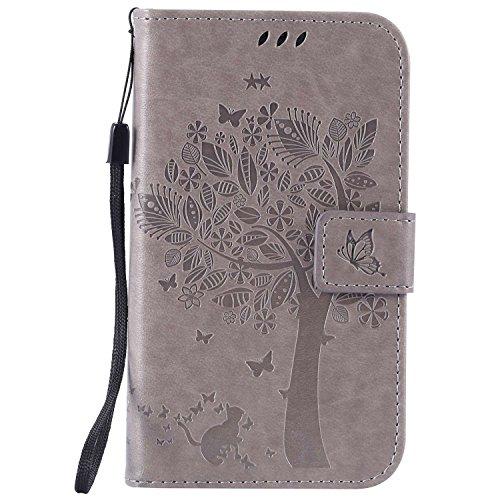 Guran® PU Leder Tasche Etui für Samsung Galaxy Grand Neo Plus/Grand Neo (i9060) Smartphone Flip Cover Stand Hülle & Karte Slot Hülle-grau