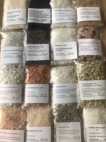 Salz Set 16 tlg, Hawaii Salz , Kala Namak ,Kristallsalz ,Totes Meer, Halit Salz usw