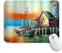 VAMIX マウスパッド 個性的 おしゃれ 柔軟 かわいい ゴム製裏面 ゲーミングマウスパッド PC ノートパソコン オフィス用 デスクマット 滑り止め 耐久性が良い おもしろいパターン (航海アート水彩アンティーク海賊船灯台ヨット海海洋)