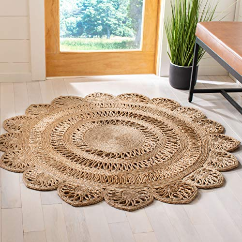 Safavieh Natural Fiber Round Collection NFB253A Handmade Boho Country Charm Jute Area Rug, 3' x 3' Round, Natural