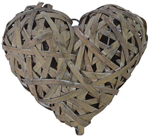 chiccie Gris cœurs en rotin – cm – cœur suspendu – Nature Décoration Vigne cœurs en rotin, Rotin, 18 cm
