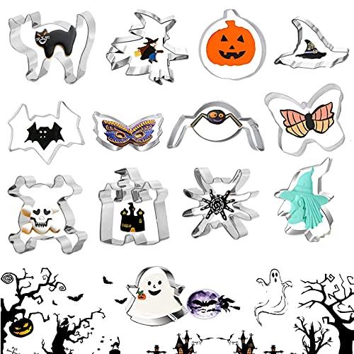 HUIYING set di 13 stampi per biscotti di Halloween,Biscotti Acciaio Inox Stampi Halloween Stampi Biscotti Formine per Bambini Adulti Rendere Cookie Fondant Dolci Pasta(Argento Metallo)