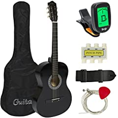 38-INCH ACOUSTIC GUITAR: Right-handed guitar delivers a full-bodied sound with its all-wood design, 19 frets, steel strings, and an attractive finish ULTIMATE STARTER KIT: Perfect for beginner guitarists, it includes a guitar pick, shoulder strap, pi...
