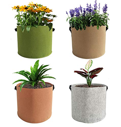 EIIORPO Plant Bags 4 Pack Colorful Mix,Durable Grow Bags 3/5/7/10/20 Gallon Nonwoven Aeration Fabric Pots with Handles,Grow Containers for Vegetable/Flower/Nursery. (4-Pack-7 Gallon)