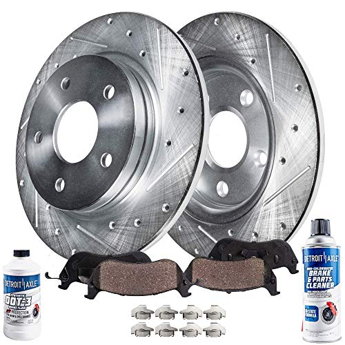 Detroit Axle - Rear Drilled and Slotted Disc Brake Kit Rotors w/Ceramic Pads w/Hardware & Brake Kit Cleaner & Fluid Replacement for 2006-2010 Ford Explorer Explorer Sport Trac Mountaineer