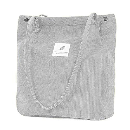 ZhengYue Handtasche Damen Groß Cord Tasche Damen Handtasche Shopper Damen für Uni Arbeit Mädchen Schule Grau